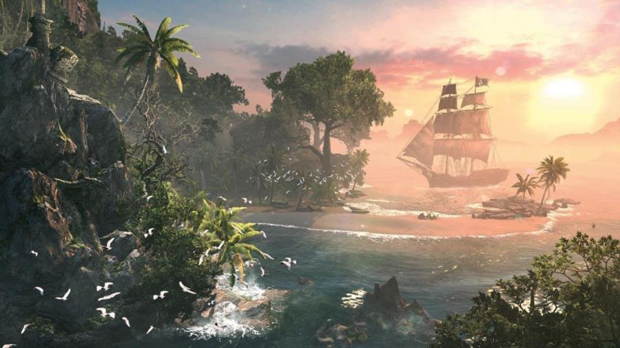 Assassin's Creed 4 Black Flag Sunset and Pirate Ship