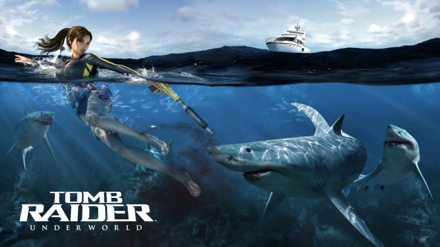 Tomb Raider Underworld Ocean Scene with Sharks and Boat