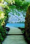 Wooden walkway to lake - Plitvice Lakes National Park in Croatia