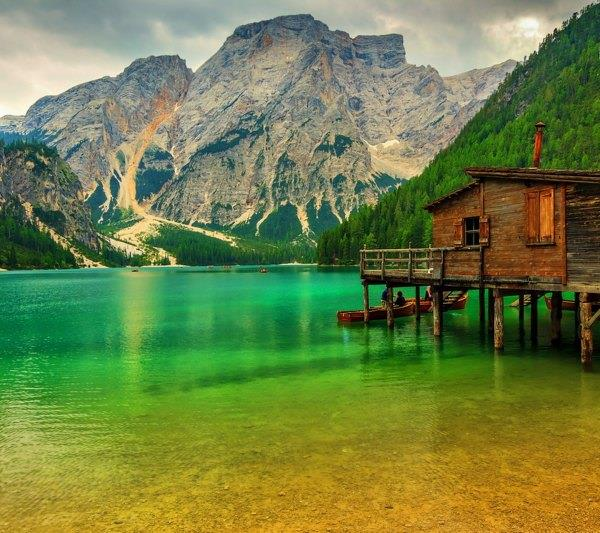 Braies Lake in Dolomiti mountains on a cloudy day, Trentino Alto Adige, Italy