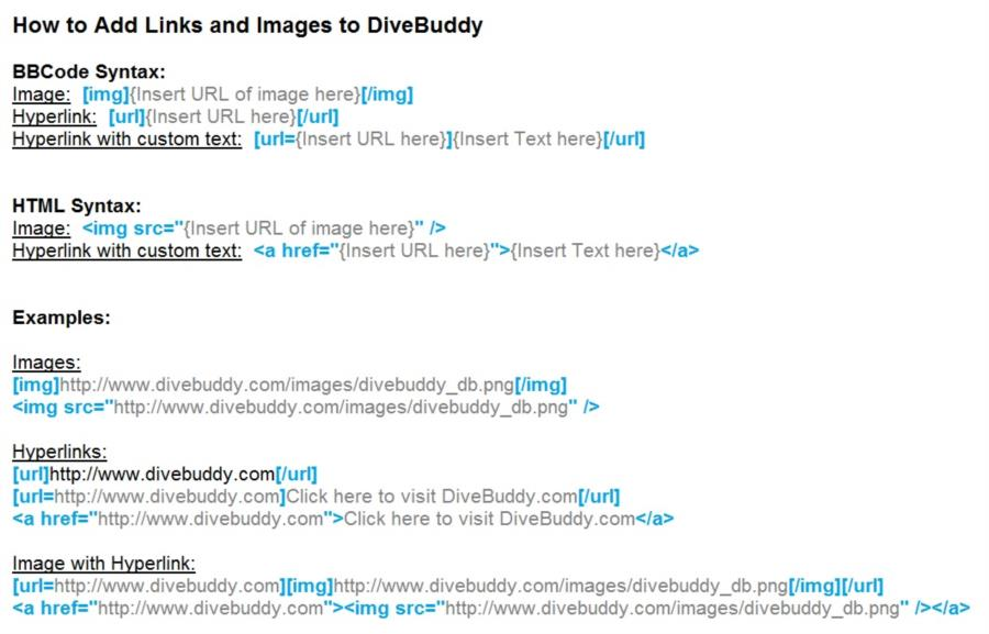 How to Add Links and Images to DiveBuddy (BBCode, HTML)