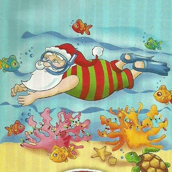 Santa Snorkeling Merry Christmas