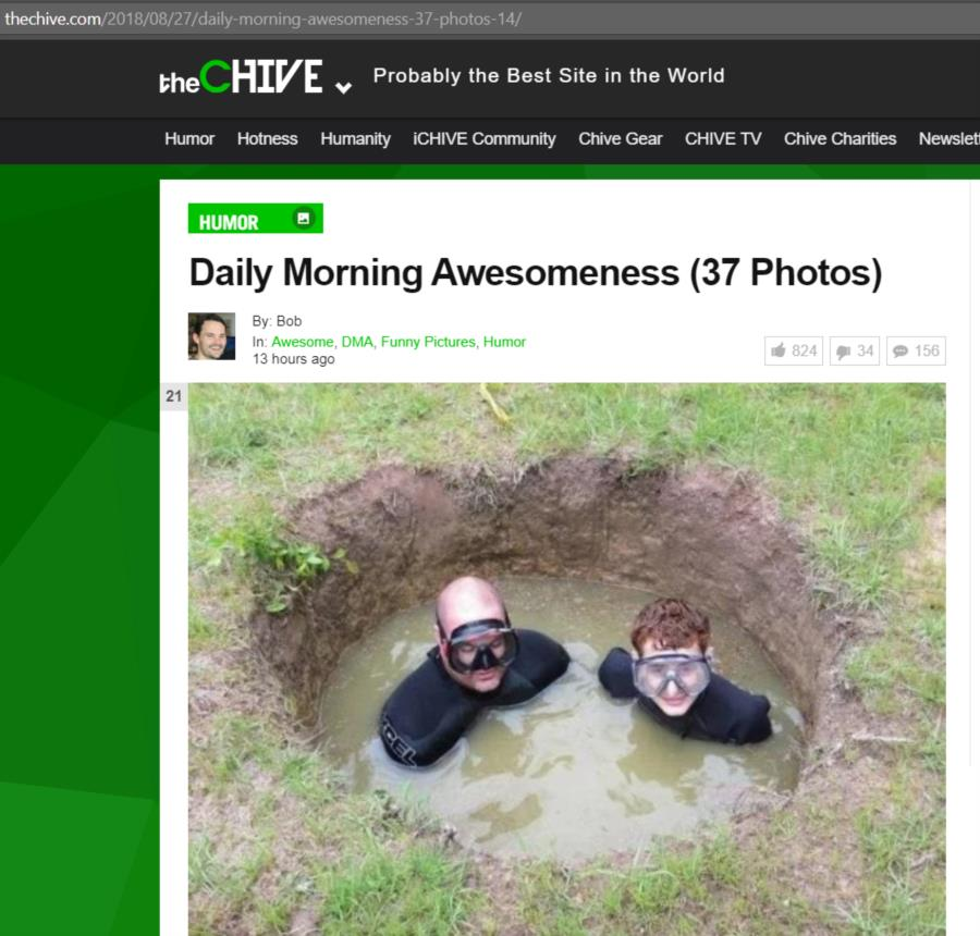 Greg and Conner Diving in Well on theChive