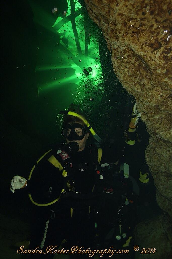 Sandy at around 70 ft., inside cavern zone of Blue Spring State Park, FL