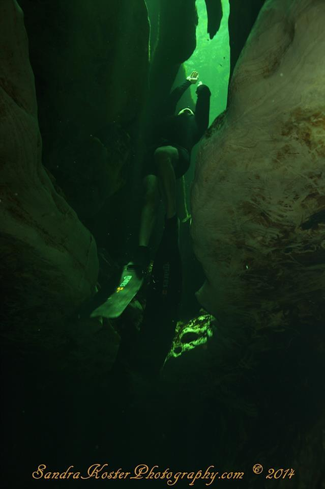 Freediver David Head assending through the Limestone formations at Blue Spring State Park