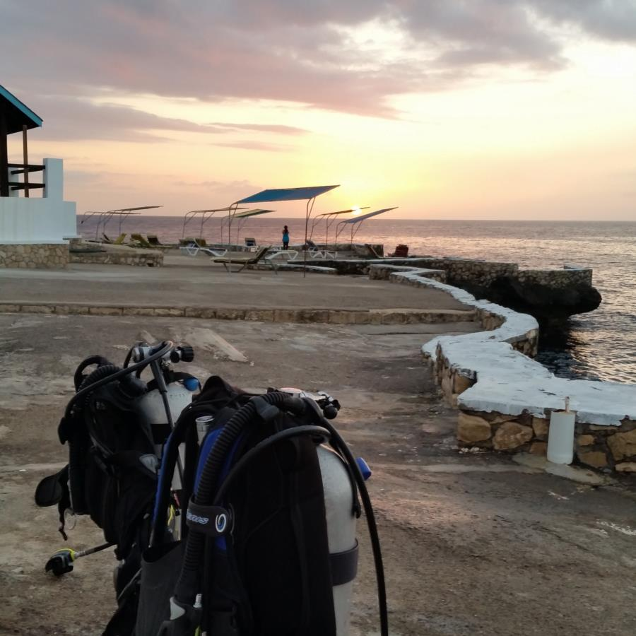 Waiting on the sunset for a night dive. Wemaica