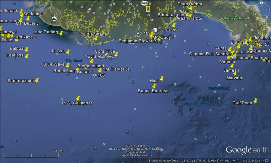 Wrecks off the Louisiana Coast