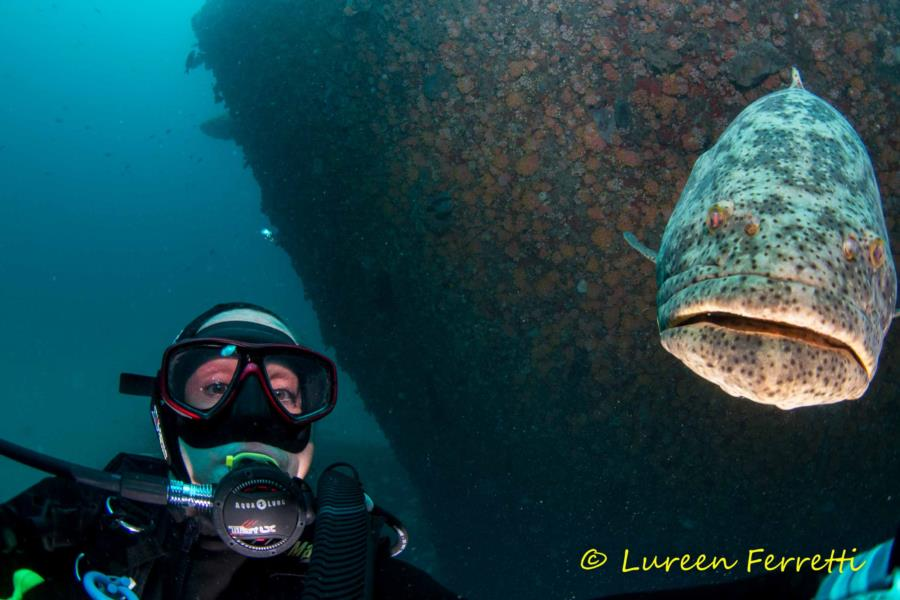 Selfie with a Goliath Grouper