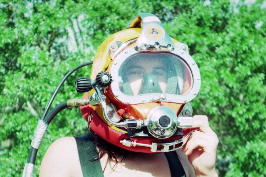 Me wearing Kirby-Morgan 17 dive helmet