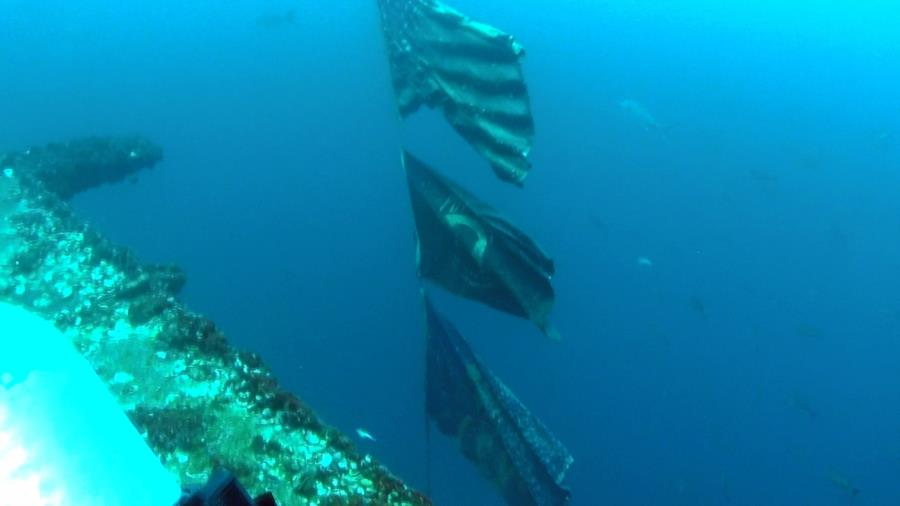 Flags on USS Oriskany