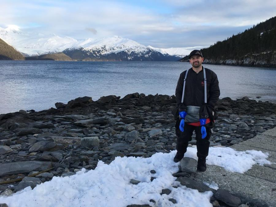 Getting Ready to Dive at Smitty's Cove in Whittier, AK (01/20/2018)