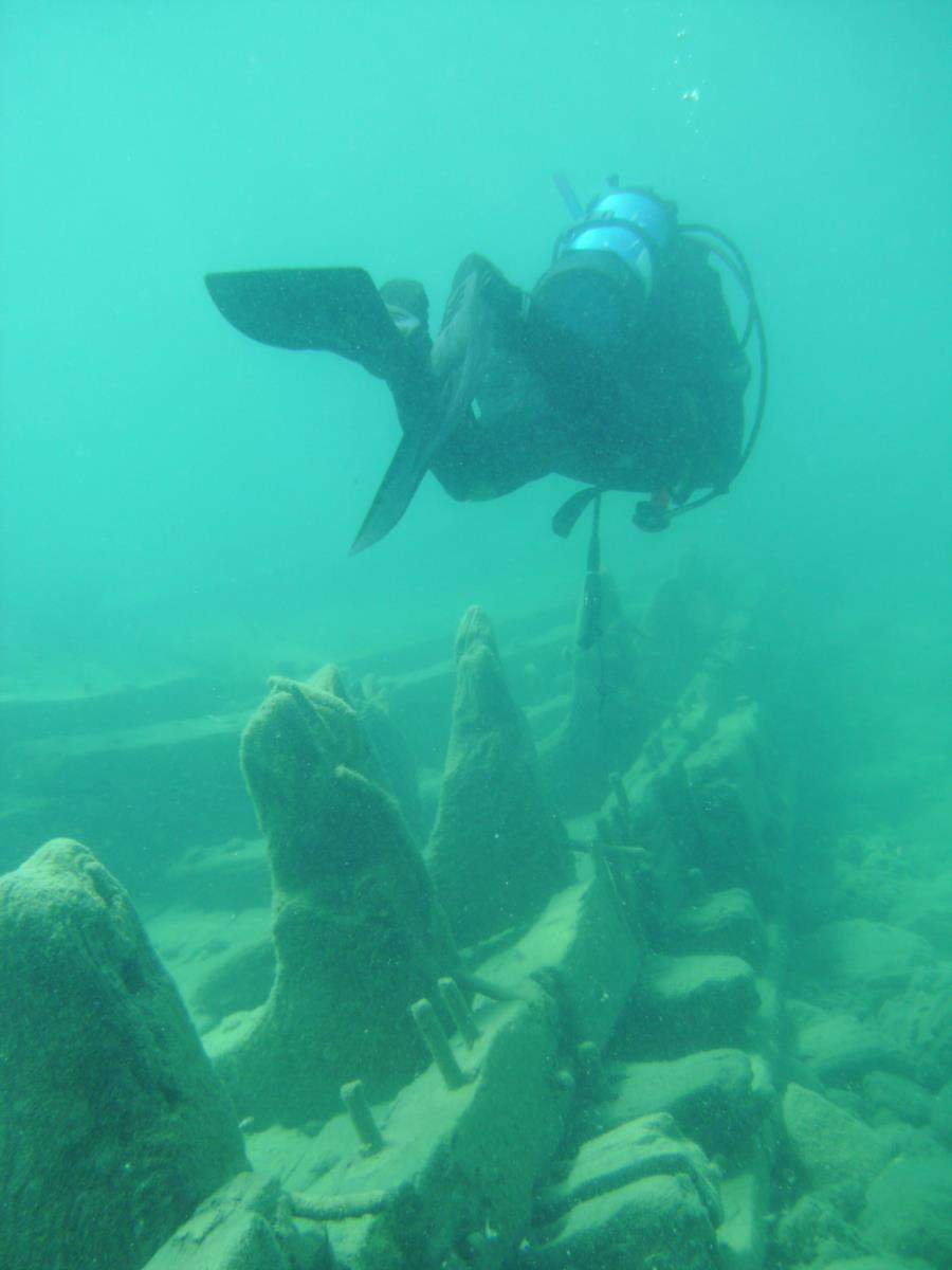 along the wreck