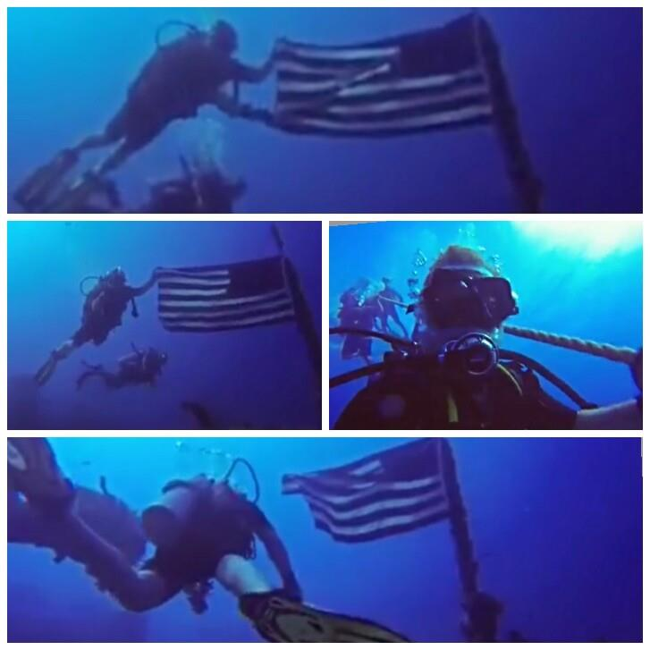 US Flag at USS Spiegle Grove (wreck)