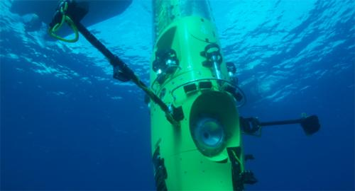 The DeepSea Challenger dives to the bottom of the Mariana Trench