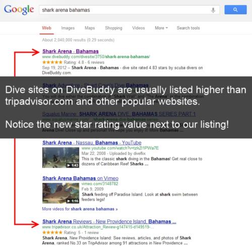 Dive Sites on DiveBuddy.com in Top Position on Search Engines