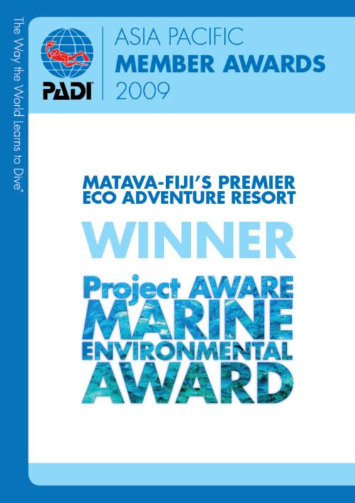 Matava wins Major Environmental Award at the PADI Asia Pacific Member Awards 2009