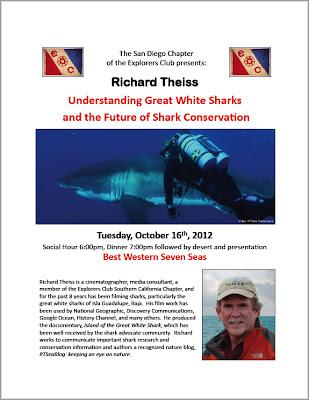 About White Sharks & Conservation: presentation at the Explorers Club in San Diego