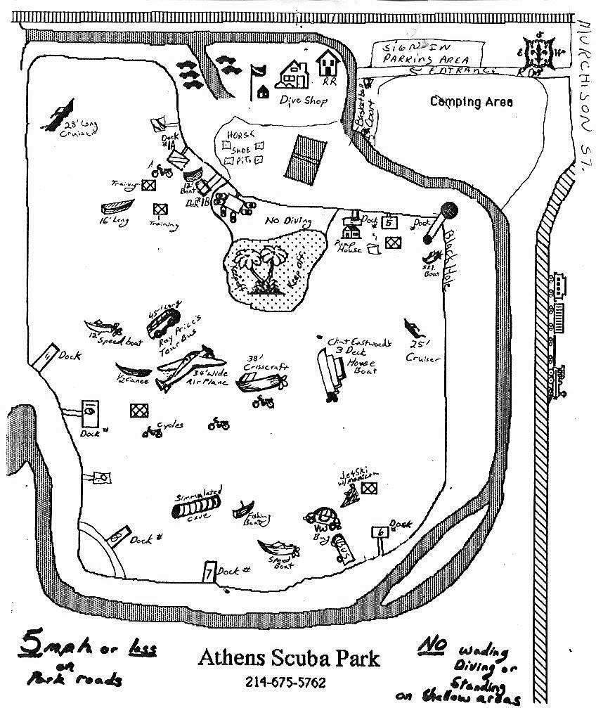 Athens SCUBA Park - Underwater Map of Athens Scuba Park
