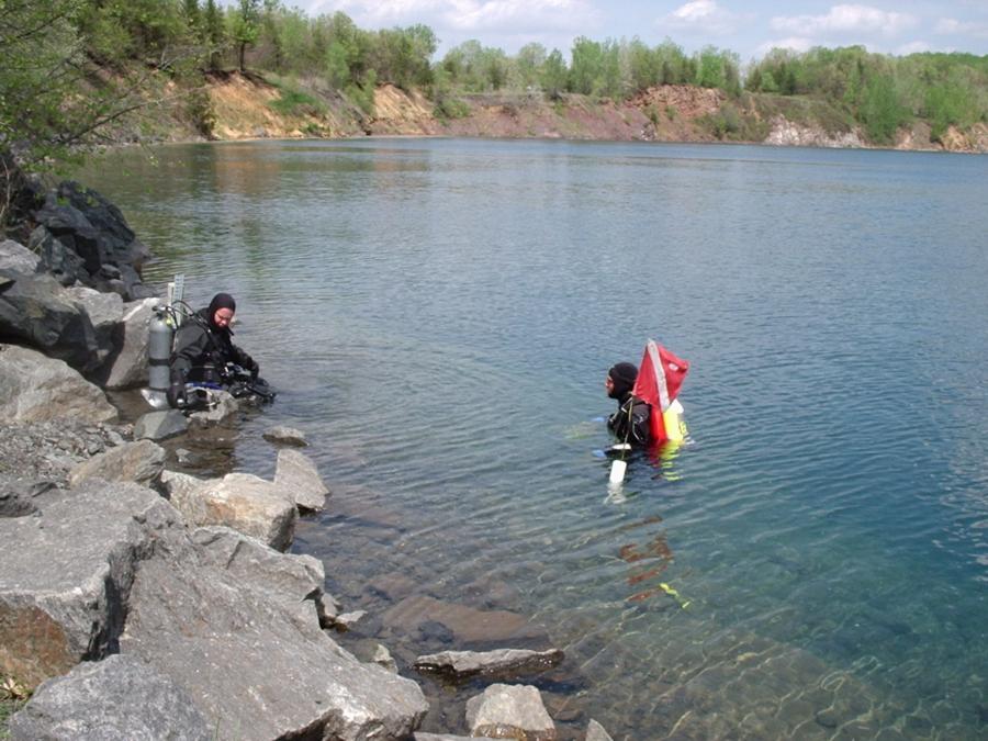 Lake Wazee - Black River Falls - Scuba divers in Lake Wazee - always float a dive flag