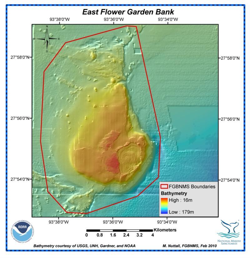 East Flower Garden Bank (Texas Flower Gardens) - East Bank Map