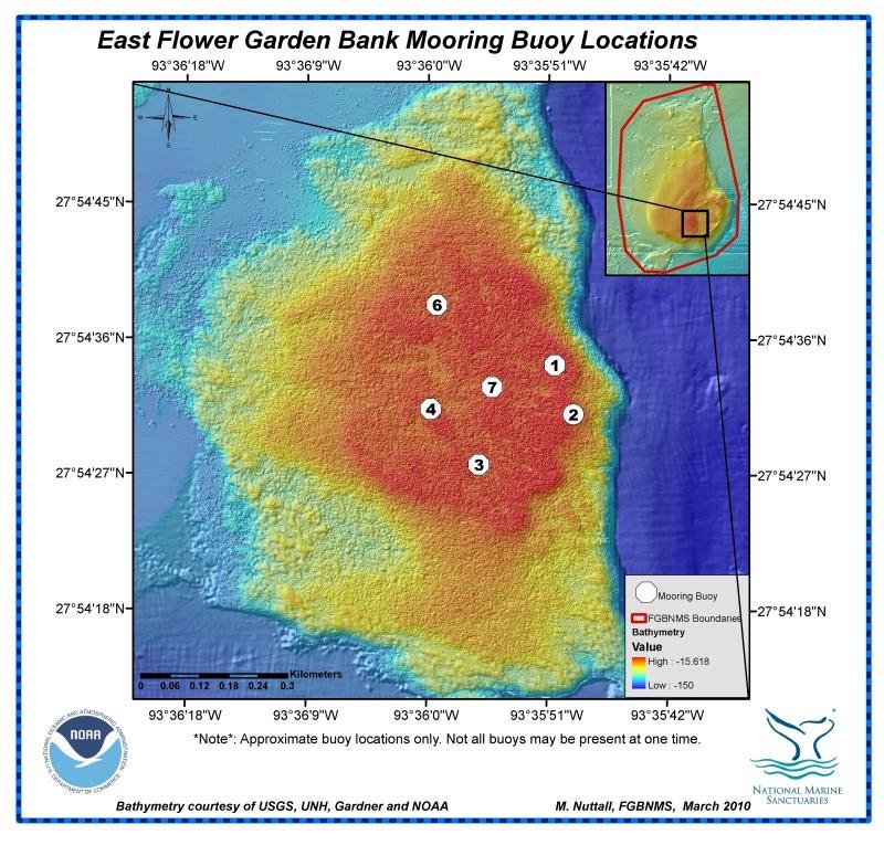 East Flower Garden Bank (Texas Flower Gardens) - East Bank Mooring Buoy Map