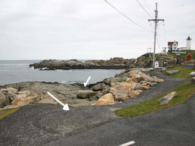 Nubble Light House, Cape Neddick - markers showing entrance path from parking lot and water entrance area