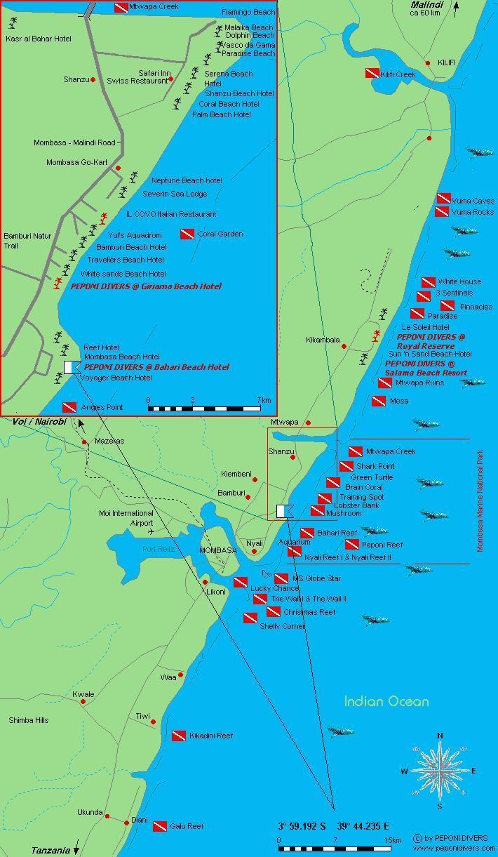 MS Globe Star (Wreck) Mombasa Kenya - Map of  Dive Sites Mombasa North Coast Kenya