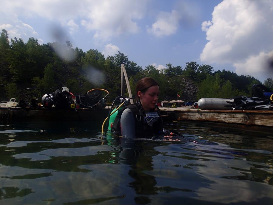 Better Diver Quarry - Megan entering water