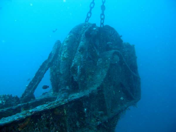 Mahi, formerly the USS Scrimmage AM297 - Bow of Mahi