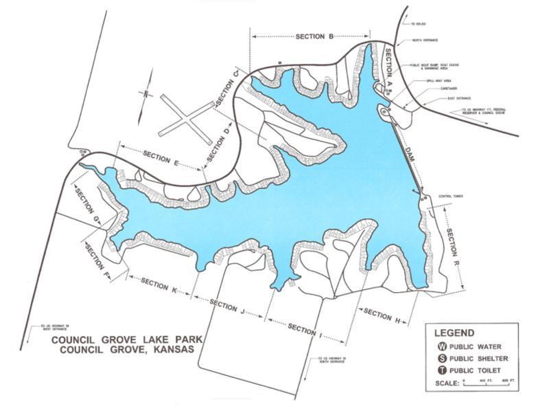 Council Grove City Lake - Map of lake