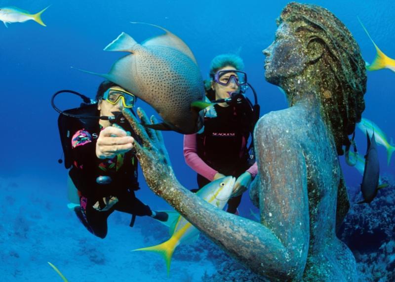 Mermaid at Sunset House aka Amphitrite - The 9' Bronze Mermaid Statue Amphitrite