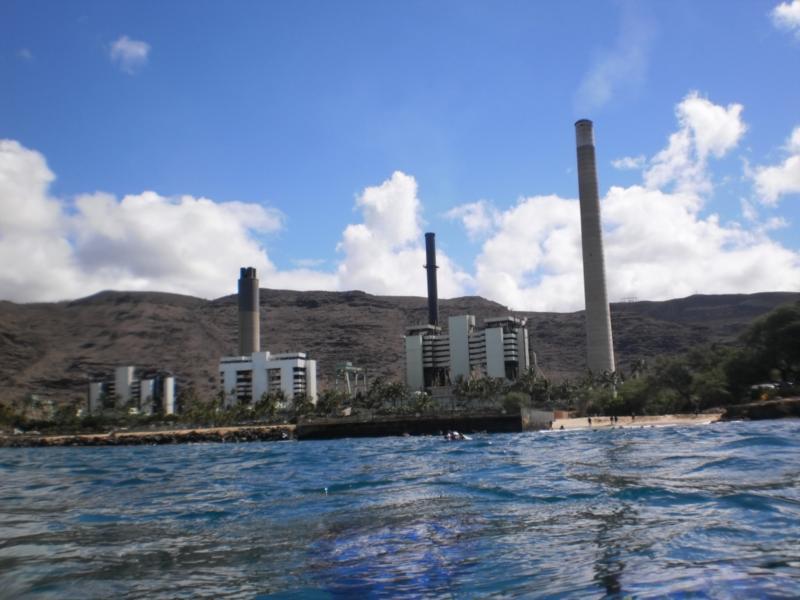 Kahe Point Beach Park (aka Electric Beach), HI - The Power Plant with beach entry to the right