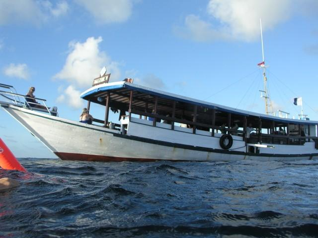 Wakatobi Dive Resort - Locally made diveboat has side entry