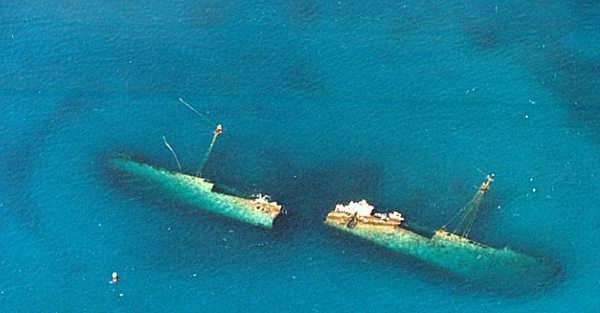 Antilla Wreck - Aerial view of Antilla wreck in Aruba