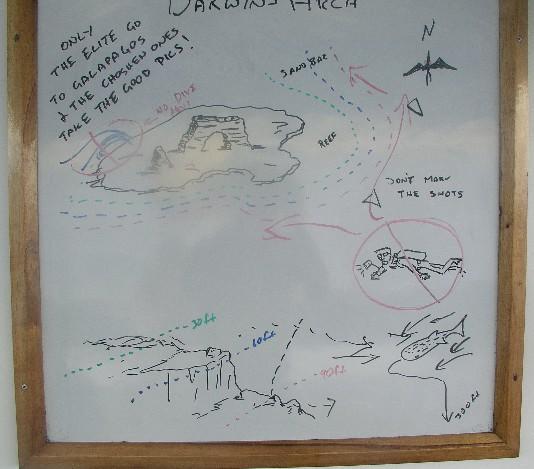 Darwins Arch - Dive briefing board