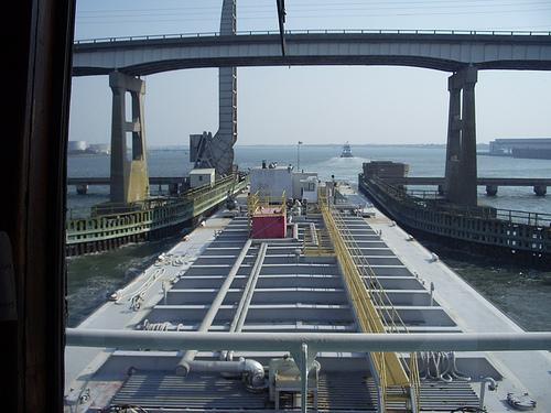 Morehead City railroad bridge - Under the bridge by barge