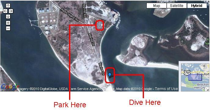 Radio Island Rock Jetty - Where to park and dive at Radio Island, NC.