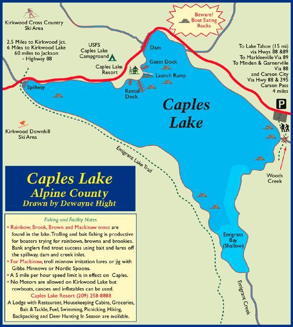 Caples Lake, El Dorado County - Map of Caples Lake, CA