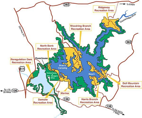 Carters Lake - Aerial Map of Carters Lake