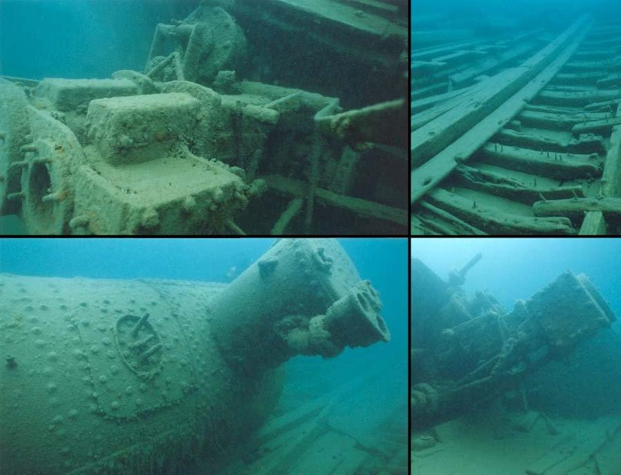 The Tugs - Collage of underwater photos of Alice G - The Tugs
