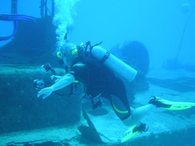 Doc Poulson - Diver exploring the boat