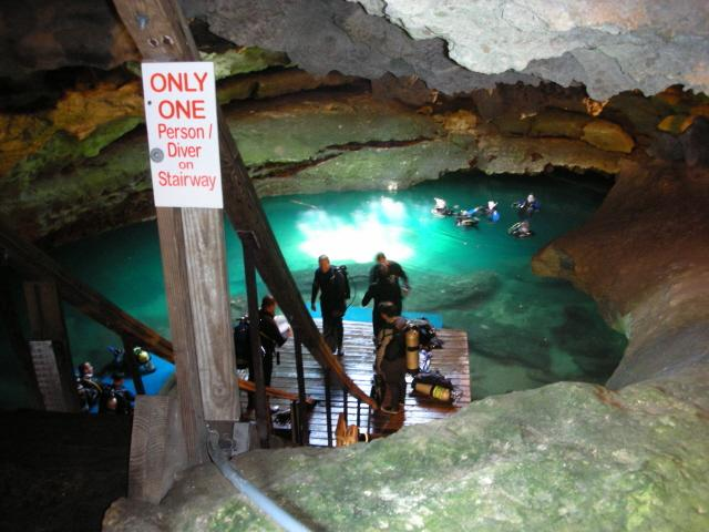 Devil's Den Springs (Devils Den) - Devils Den, FL, looking down stairs into cavern.