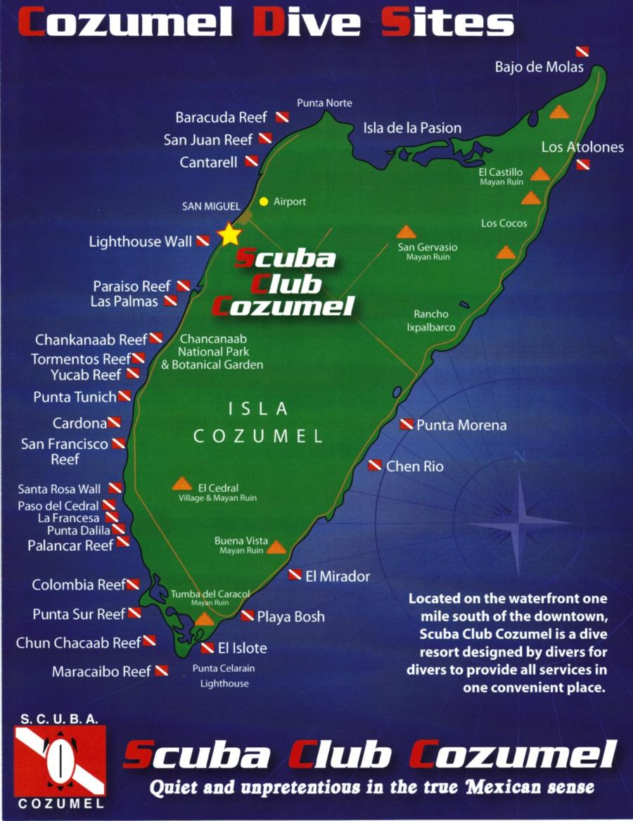 Cozumel dive sites map from scuba club - Padi dive sites ...