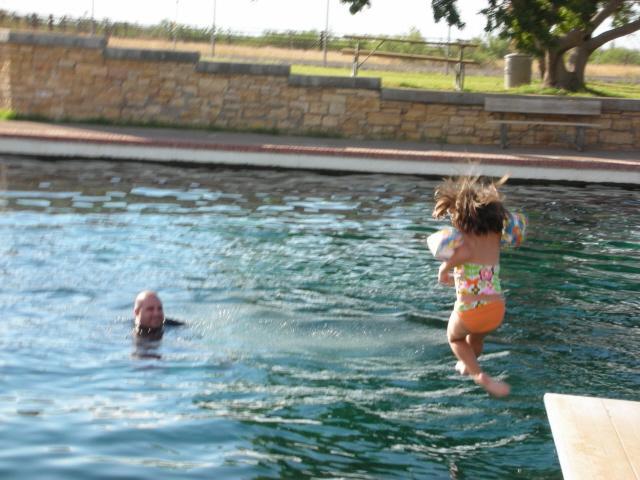 Balmorhea State Park - Macy and Greg at Balmorhea State Park, TX...jumping from diving board.