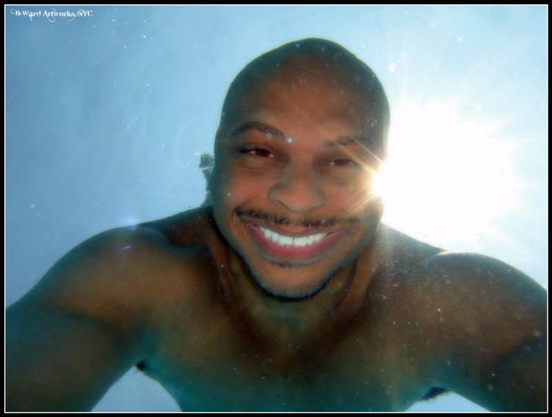 playing with new underwater camera