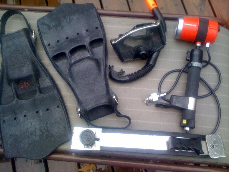 70's gear ScubaPro fins, mask, light, etc