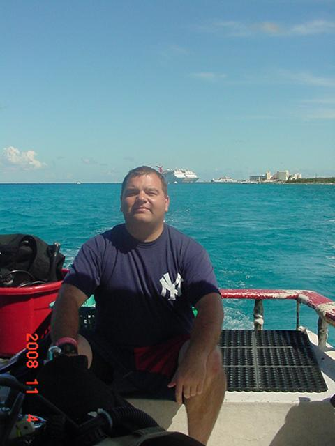 Me in Cozumel on the way to the dive site