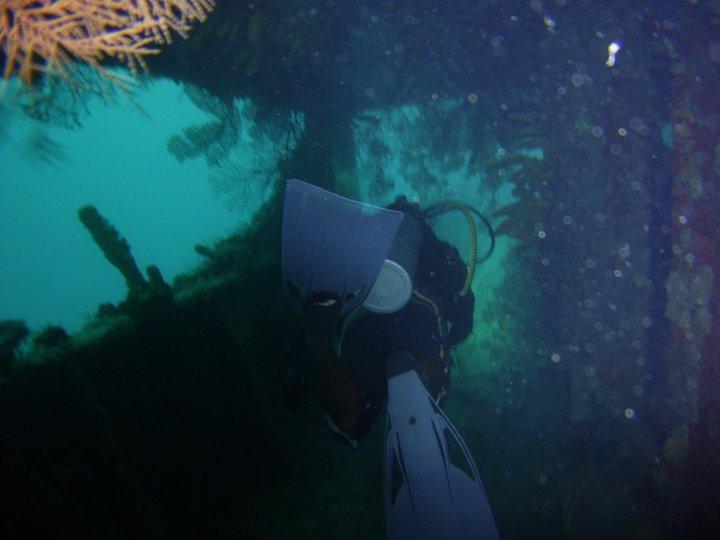 Swim through on Stavronikita, Barbados