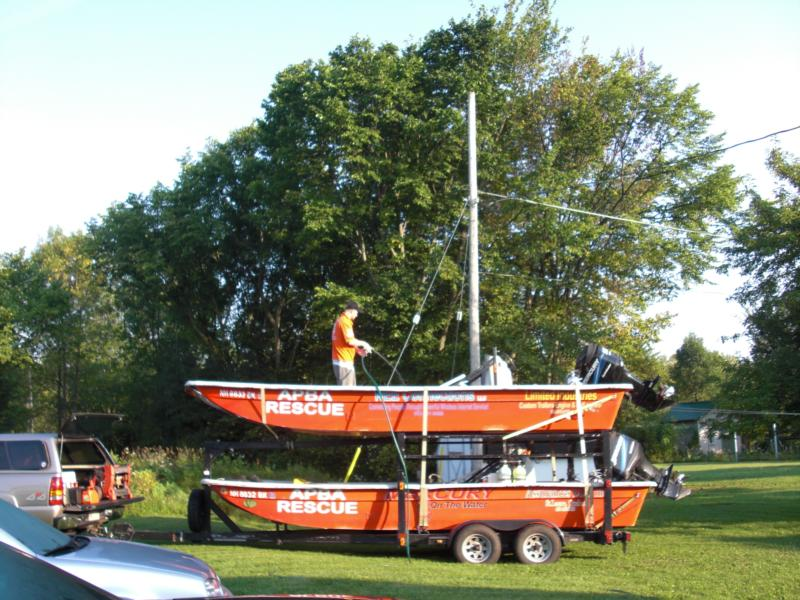 Cleaning out the APBA Rescue boats before heading to the race site in Rideau Ferry, Ontario