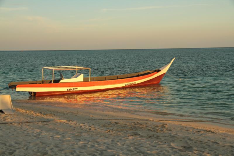 Long boat at the Mabul Resort